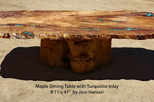Live Edge Maple Burl Dining Table, Turquoise Inlay by Joni Hamari