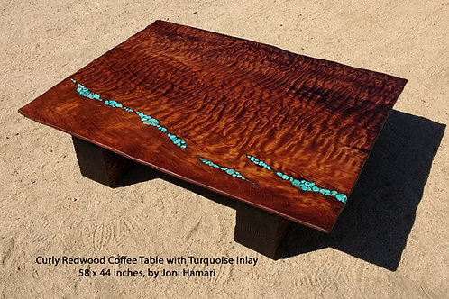 Live Edge Curly Redwood Table w/ Turquoise Inlay by Joni Hamari