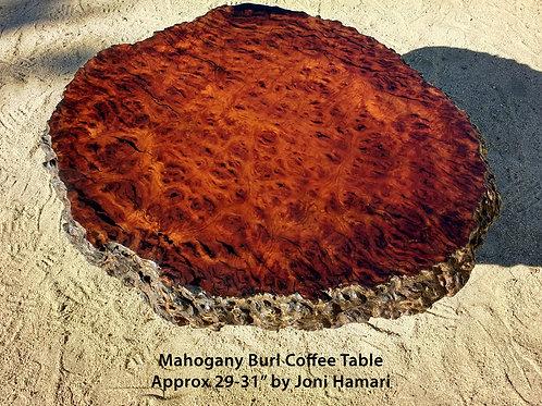 Very Old Live Edge Mahogany Burl Table by Joni Hamari
