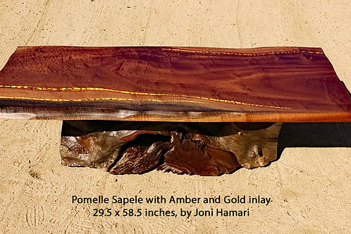 Live Edge Pomelle Sapele Table, Amber and Gold Inlay by Joni Hamari