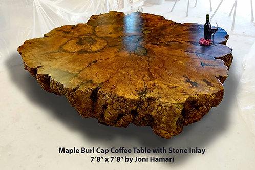 Maple Burl Cap coffee table with Stone Inlay by Joni Hamari