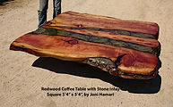 Redwood live edge table stone inlay 5x5