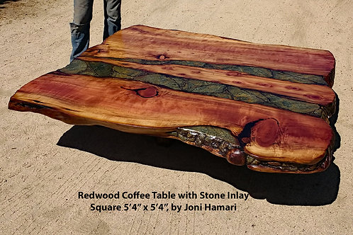 Live Edge Redwood Coffee Table, Stone Inlay by Joni Hamari