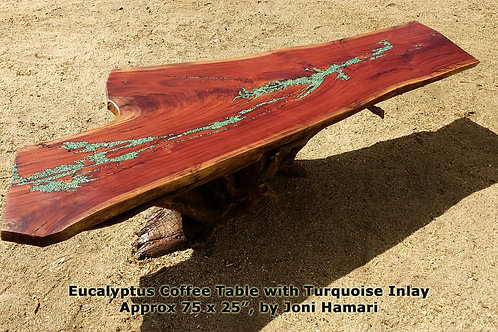 Live Edge Wood Slab Table, Eucalyptus Turquoise inlay coffee table, Joni Hamari