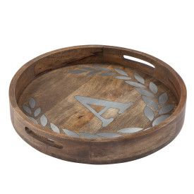"WOOD/METAL 20"" ROUND TRAY ""A"""