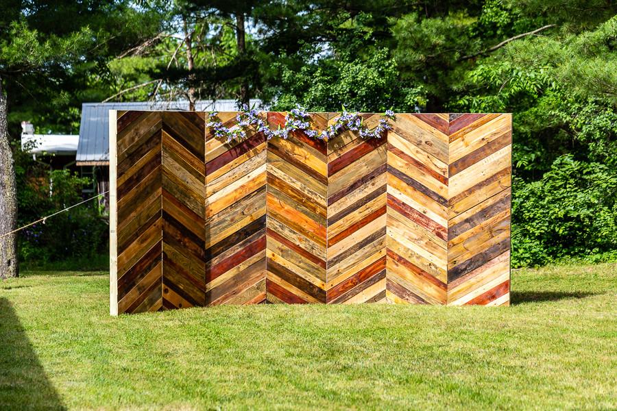 handmade wooden wedding ceremony backdrop