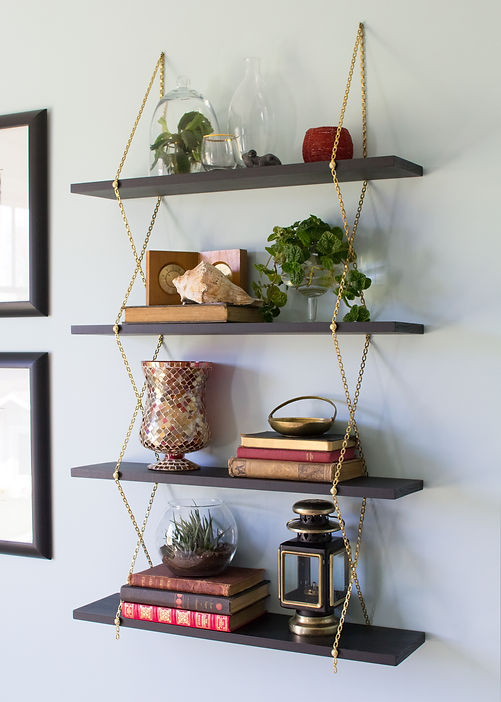 black and gold chain shelf DIY