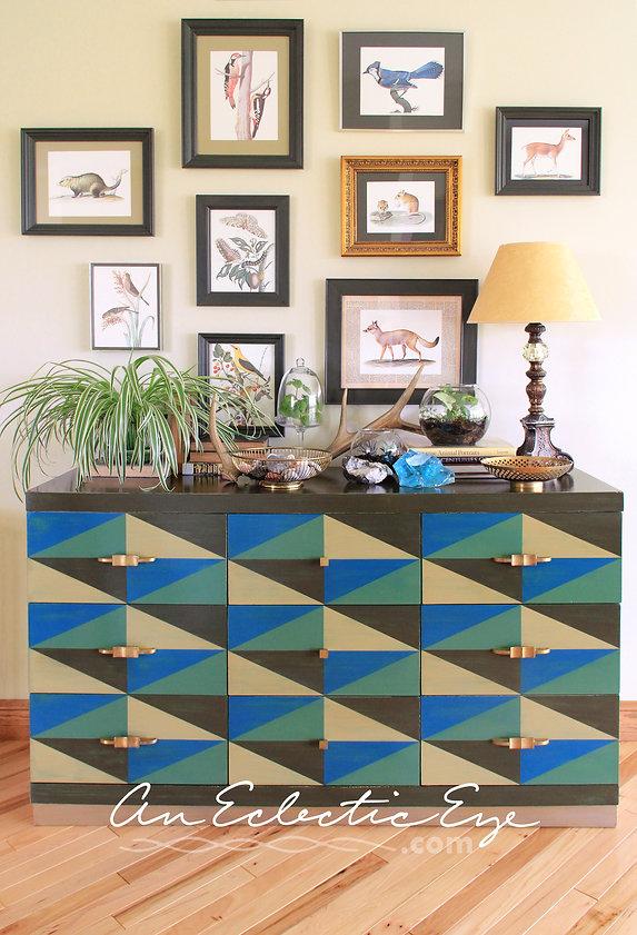 Geometric painted dresser