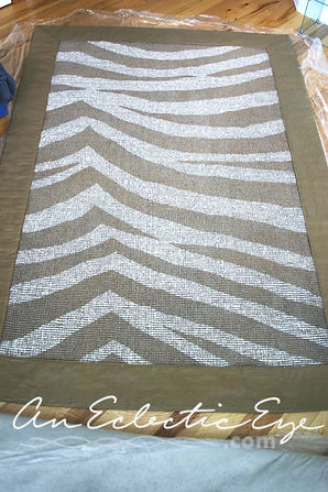 Diy painted zebra rug