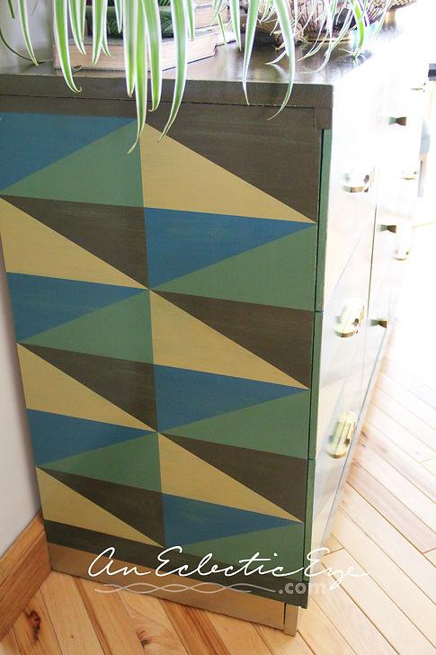 DIY Geometric Painted Dresser