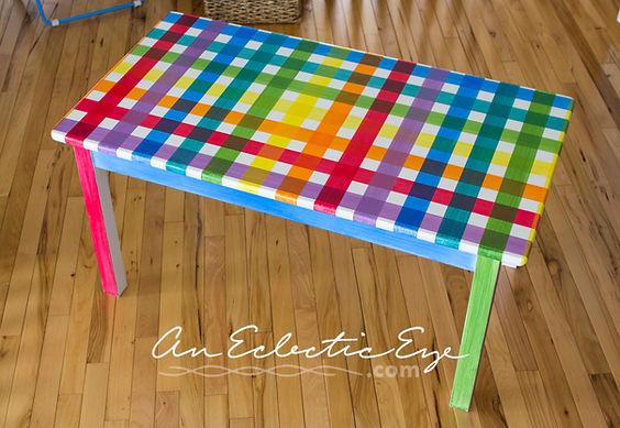 diy rainbow plaid table