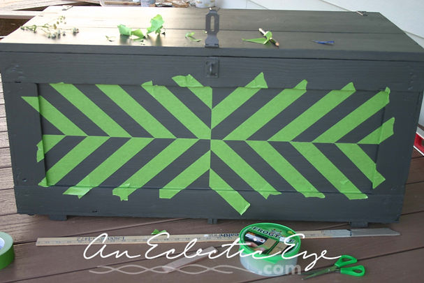 frogtape alternating stripe painted trunk