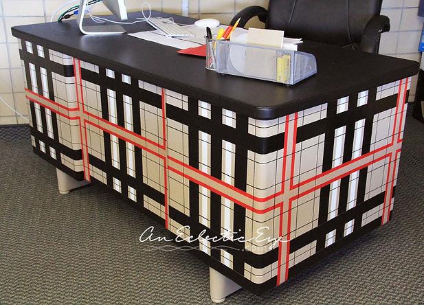 Burberry plaid duct tape desk
