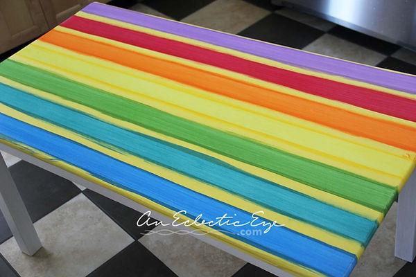 frogtape rainbow plaid table