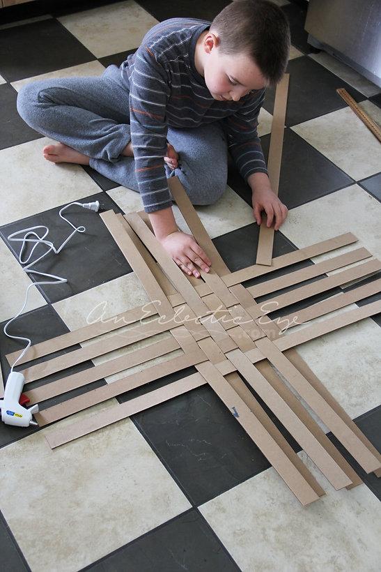 Diy woven cardboard basket