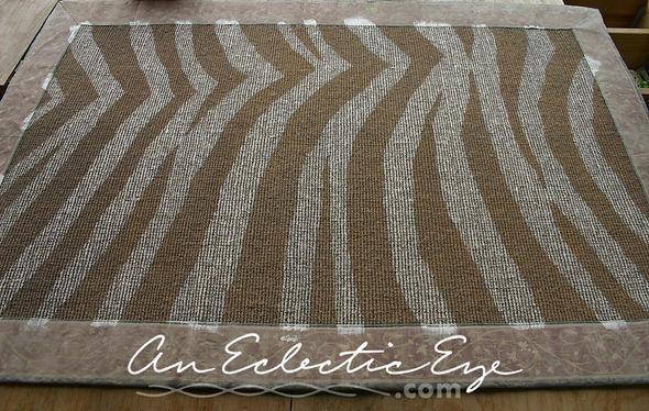 diy zebra painted sisal rug