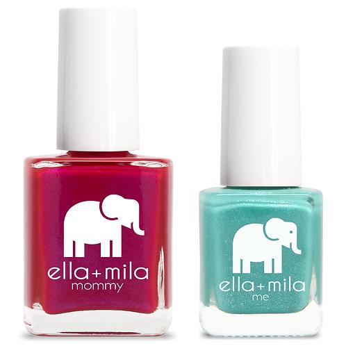 Ella+Mila | Mommy & Me Set | Cosmo Pink + Glitter Me Green