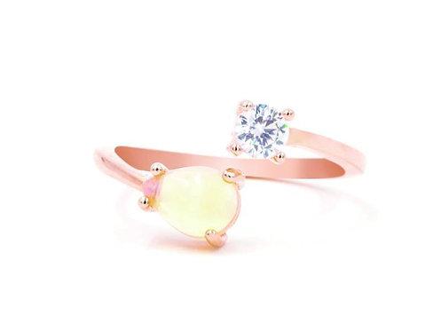 Serpentine Opal Rose Gold Ring