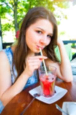 girl drinking natural juice