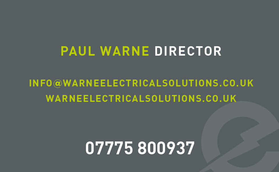 WARNE ELECTRICAL SOLUTIONS: BUSINESS CARD DESIGN BACK