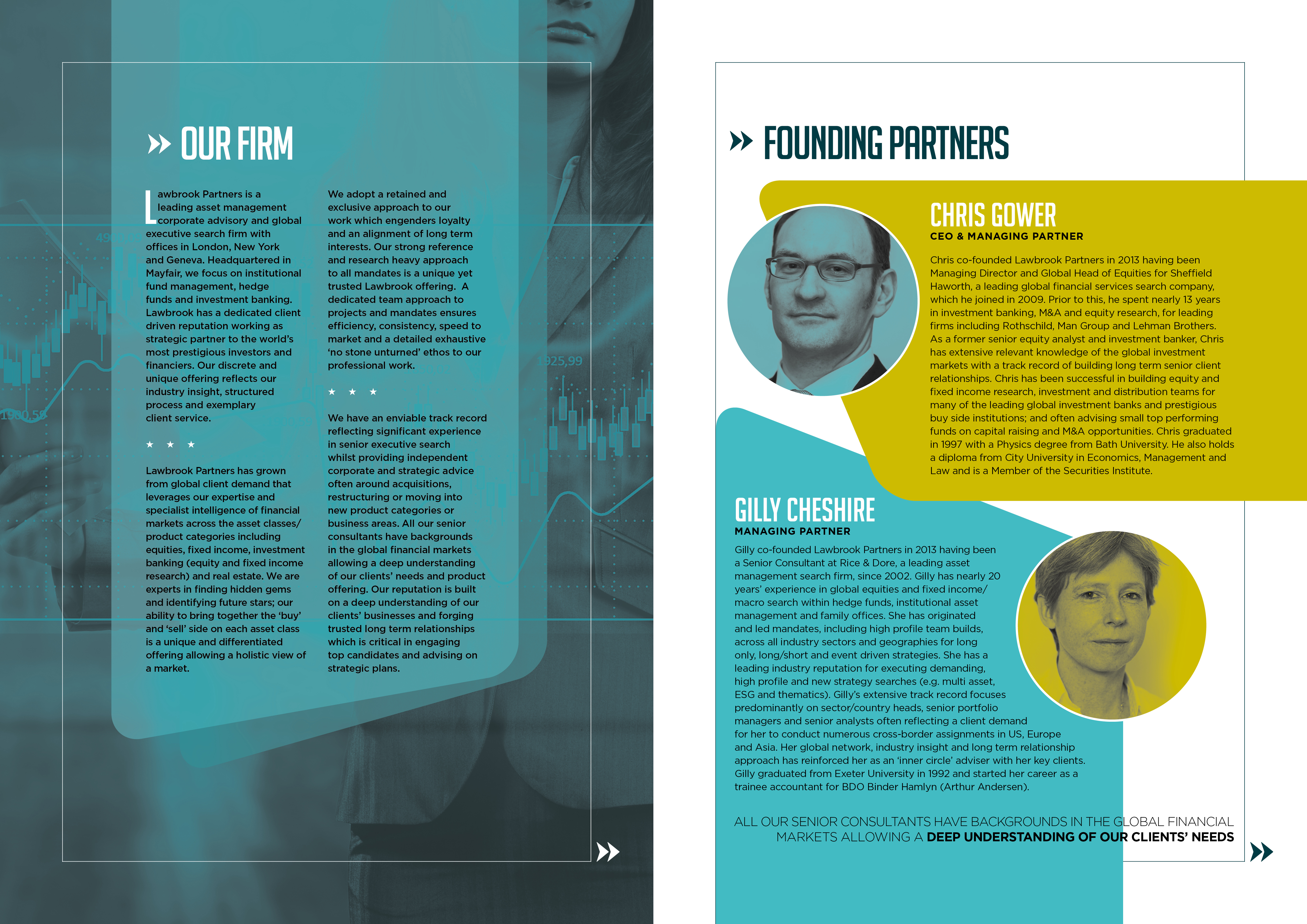 LAWBROOK PARTNERS: CORPORATE BROCHURE FIRST INNER SPREAD