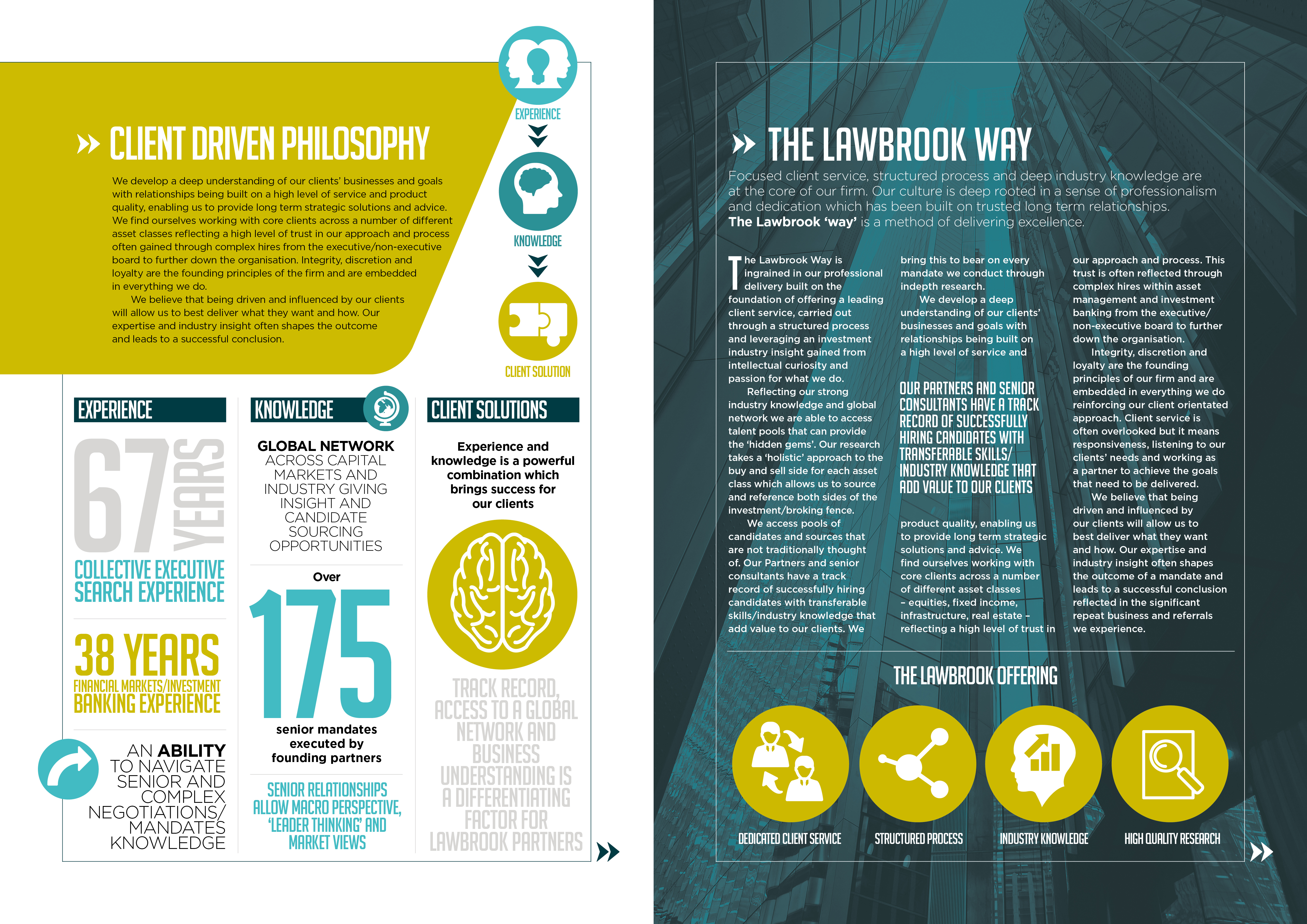 LAWBROOK PARTNERS: CORPORATE BROCHURE SPREAD 2