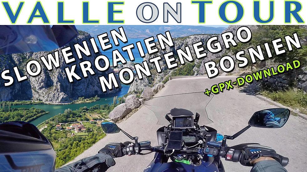 Download (GPX): Kroatien + Montenegro + Bosnien-Herzegowina + Slowenien-Reise