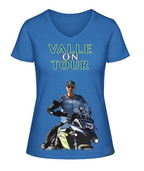 Valle on Tour T-Shirt mit V-Ausschnitt für Frauen aus Biobaumwolle