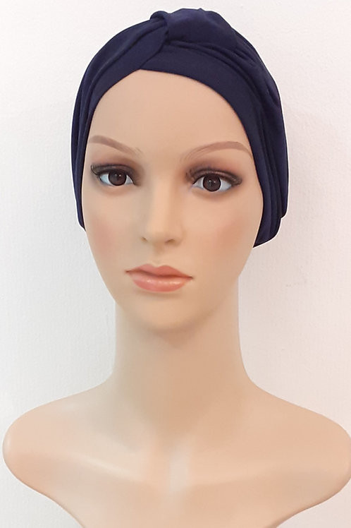 Turbantes Poliéster Spandex Azul Oscuro