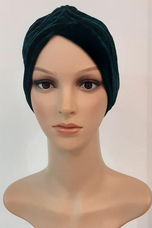 Turbante Plush Plisado Verde Oscuro