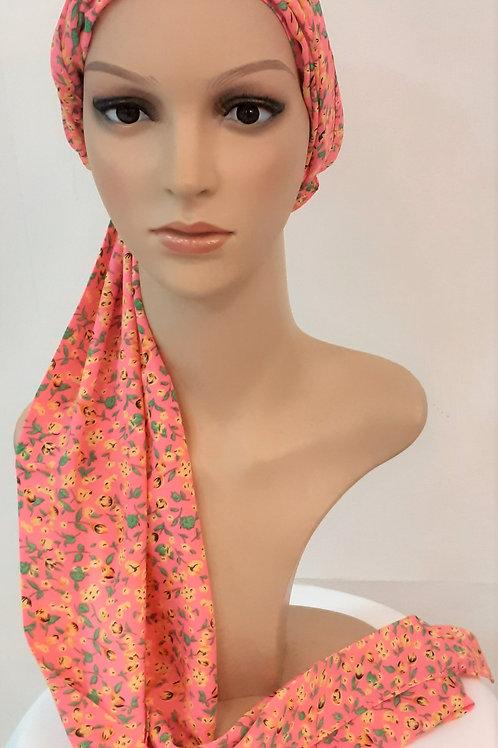 Pañuelo Liso Estampado Floral Rosa