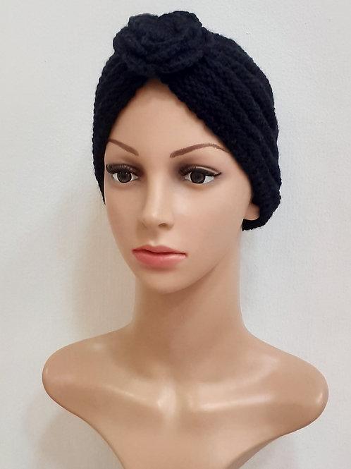 Turbante de Lana Rosa Negro
