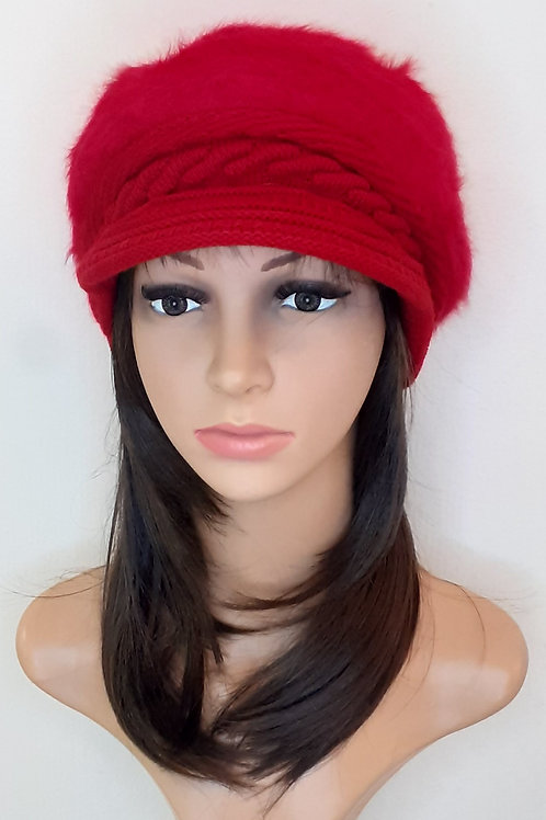 Sombrero Angora con Visera Rojo