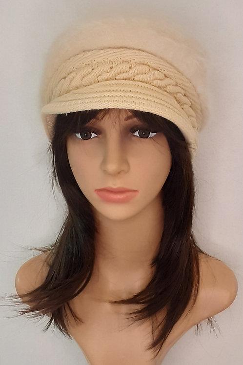 Sombrero Angora con Visera Blanco Invierno