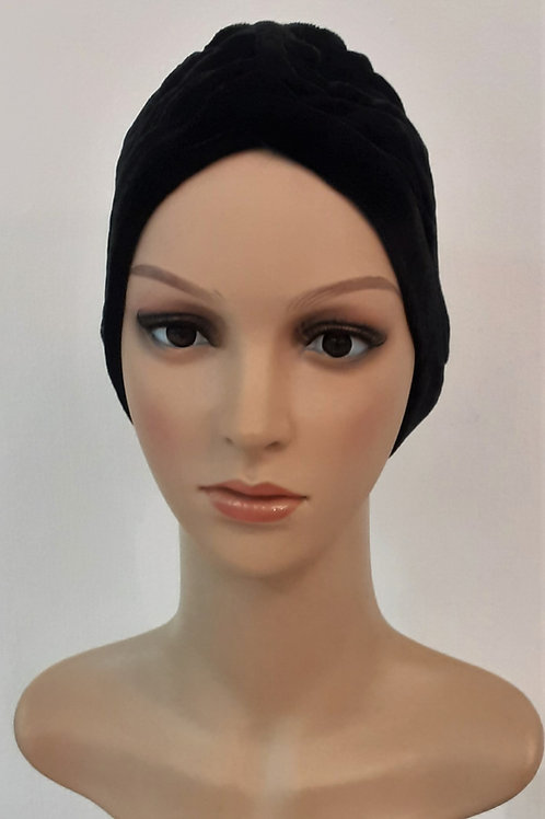 Turbante Plush Plisado Negro