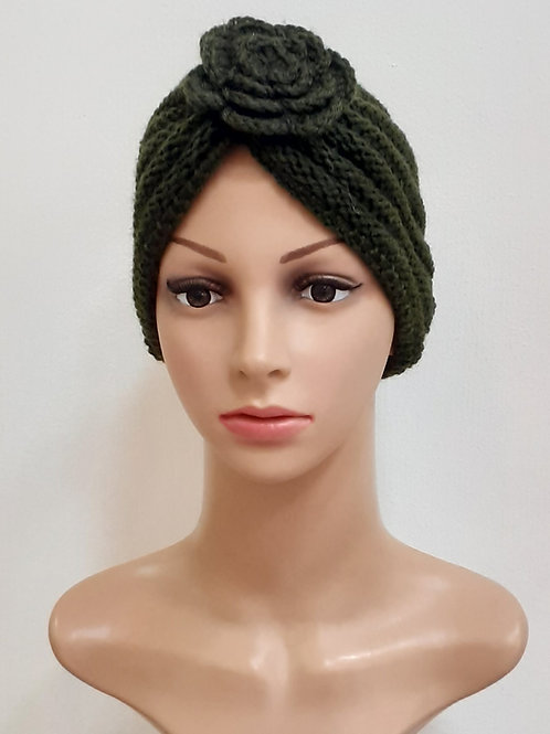 Turbante de Lana Flor Verde Olivo