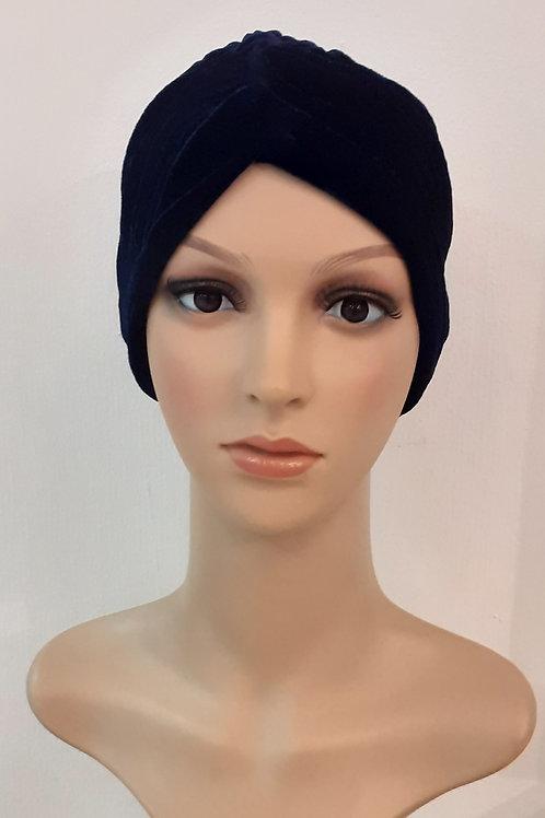 Turbante Plush Plisado Azul Oscuro