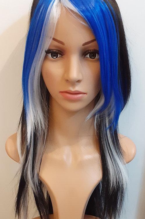 Peluca Kanekalon Color Fantasía Francy Azul/Blanco/Negro