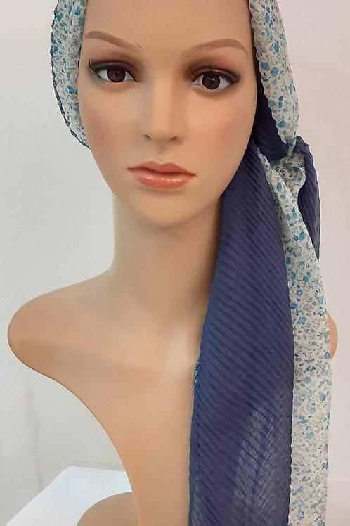 Pañuelo Liso Estampado Floral Azul