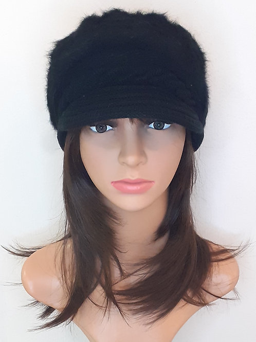 Sombrero Angora con Visera Negro