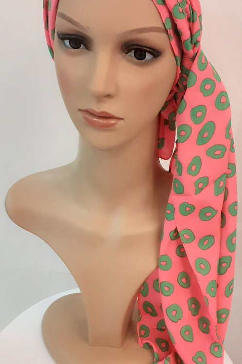 Pañuelo Liso Estampado Rosado/Verde