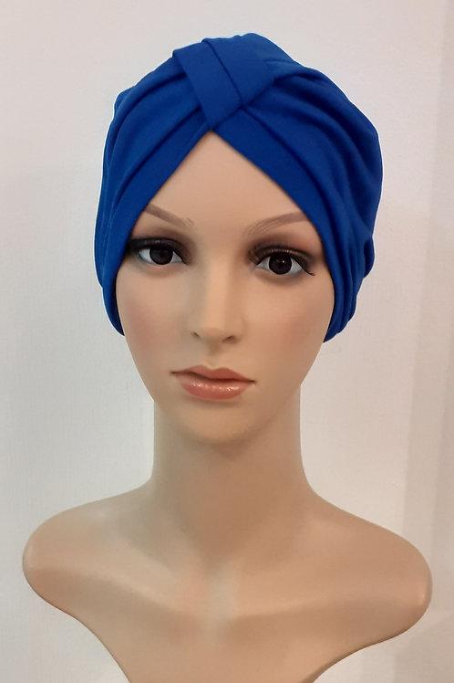 Turbante Poliéster Spandex Azul Eléctrico