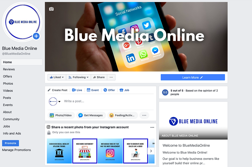 facebook ads, info and ads, Blue Media Online, facebook page