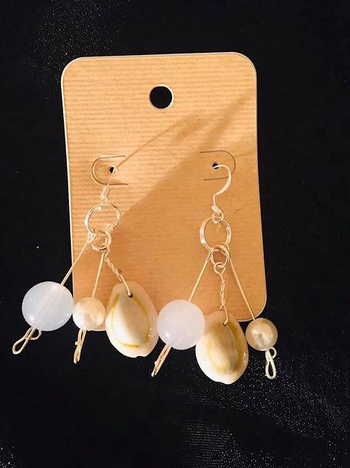 Hook Earrings Cowrie Sea Shell A
