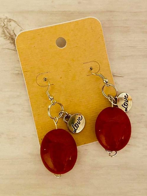 """Love"" Red Earrings"