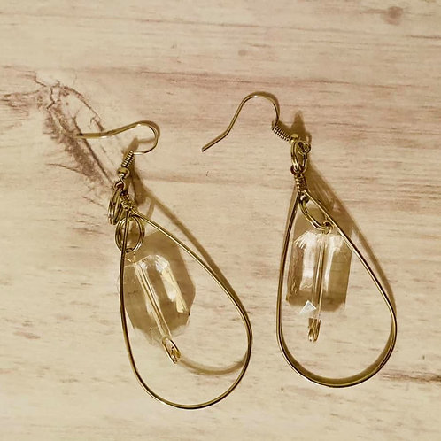 Tear Drop Clear Earrings