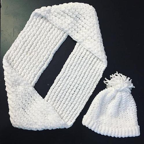 Loom Knitted White Loop Scarf & Hat #2