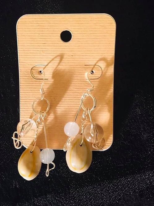 Hook Earrings Cowrie Sea Shell B