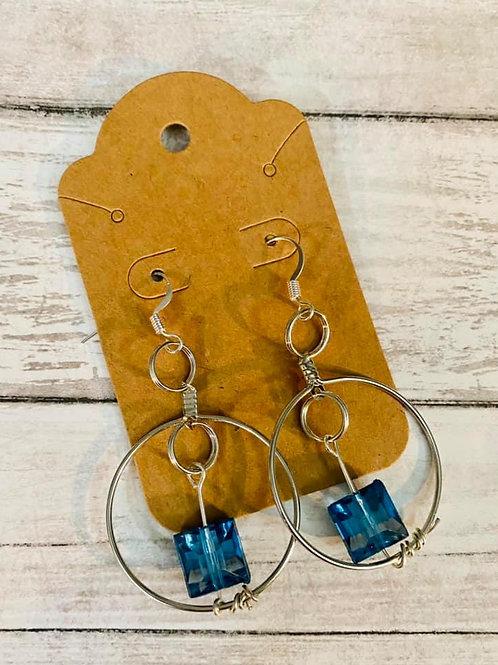 Small Hoop Navy Earrings