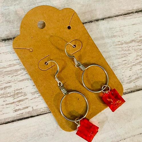 Small Hoop Red Gem Earrings